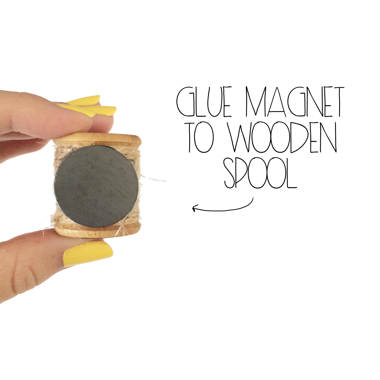 Glue Magnet To Wooden Spool | MrsAmberAppleBlog