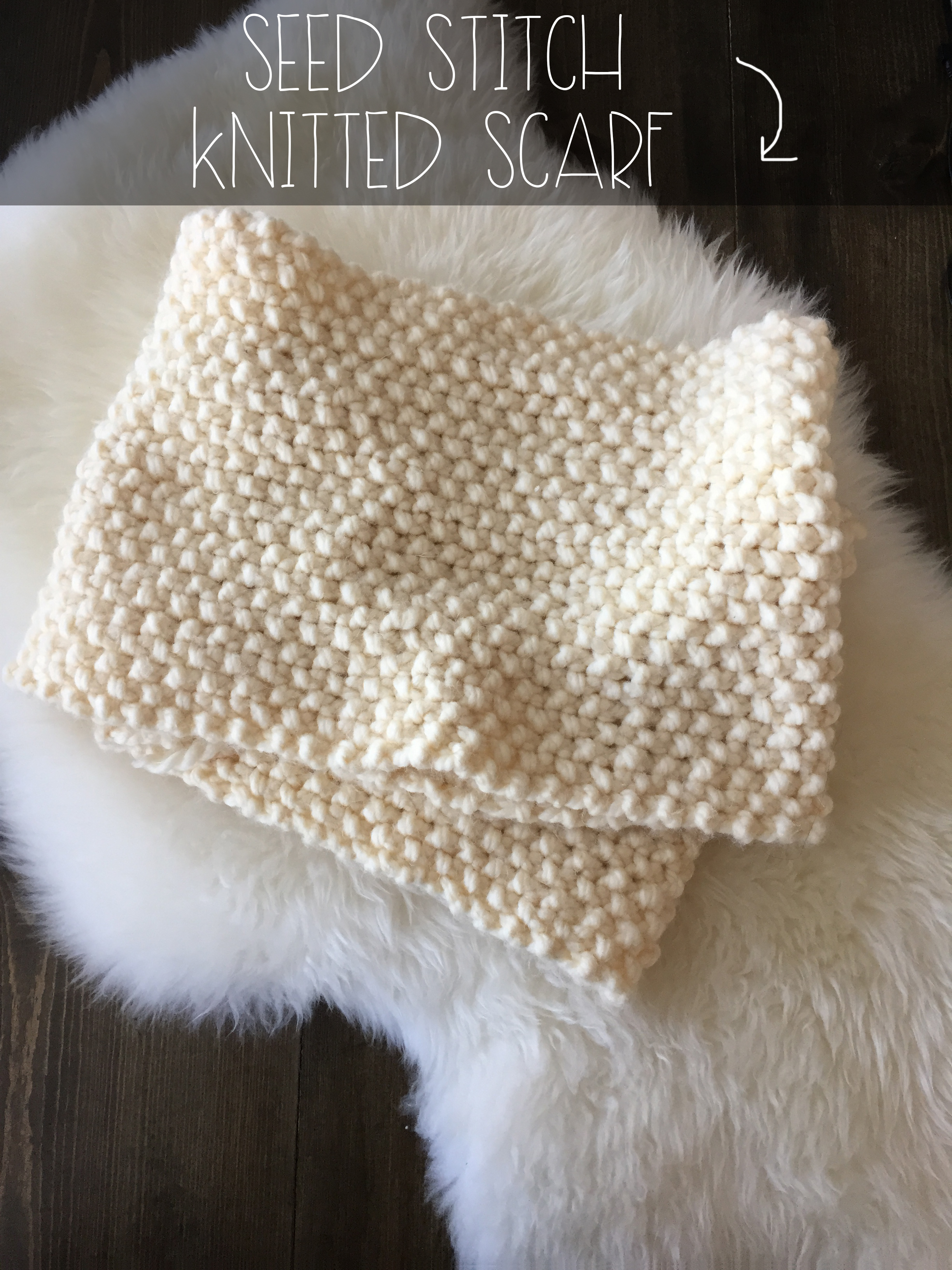 Seed Stitch Knitted Scarf