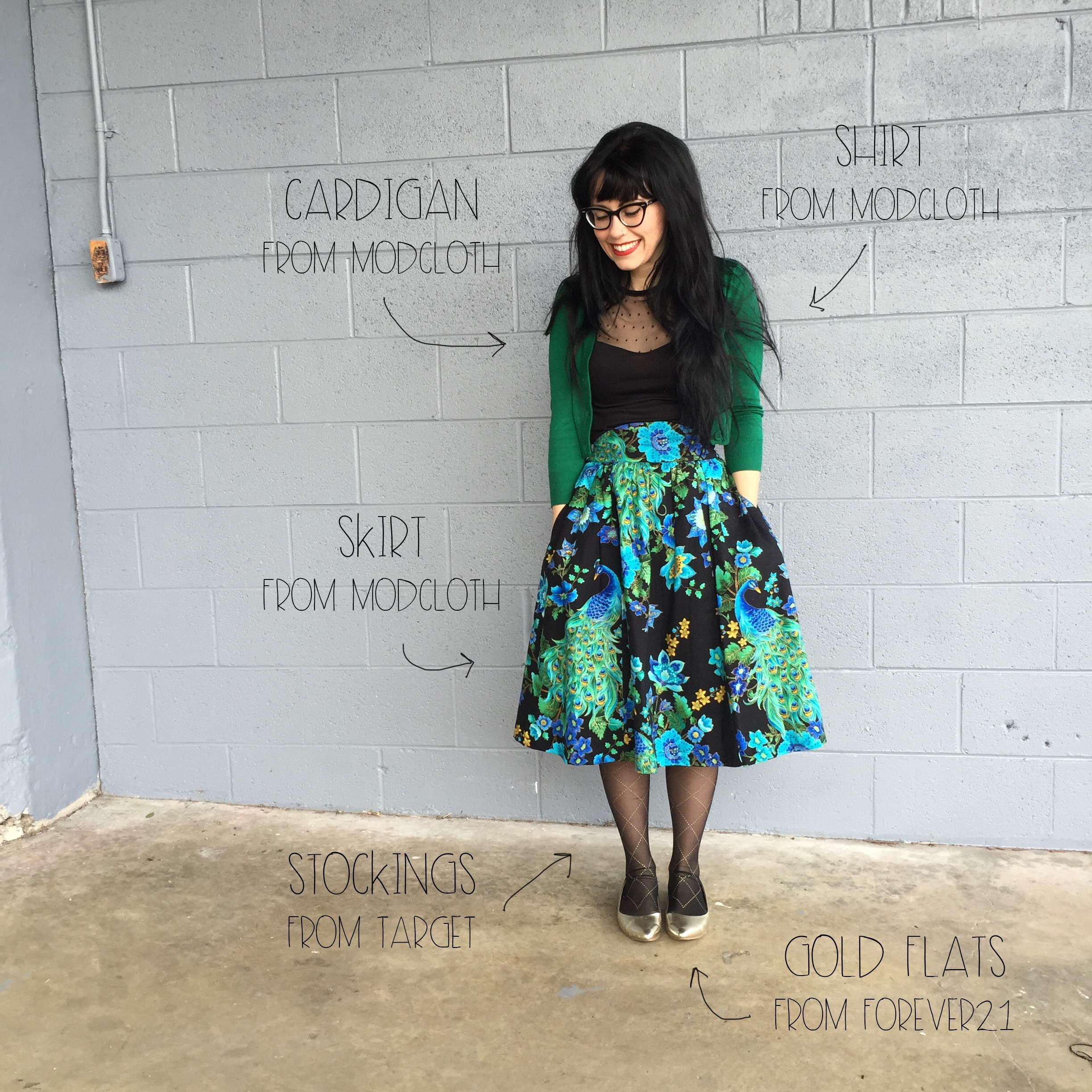 What I Wore Kelly green and peacocks | Red Autumn Co
