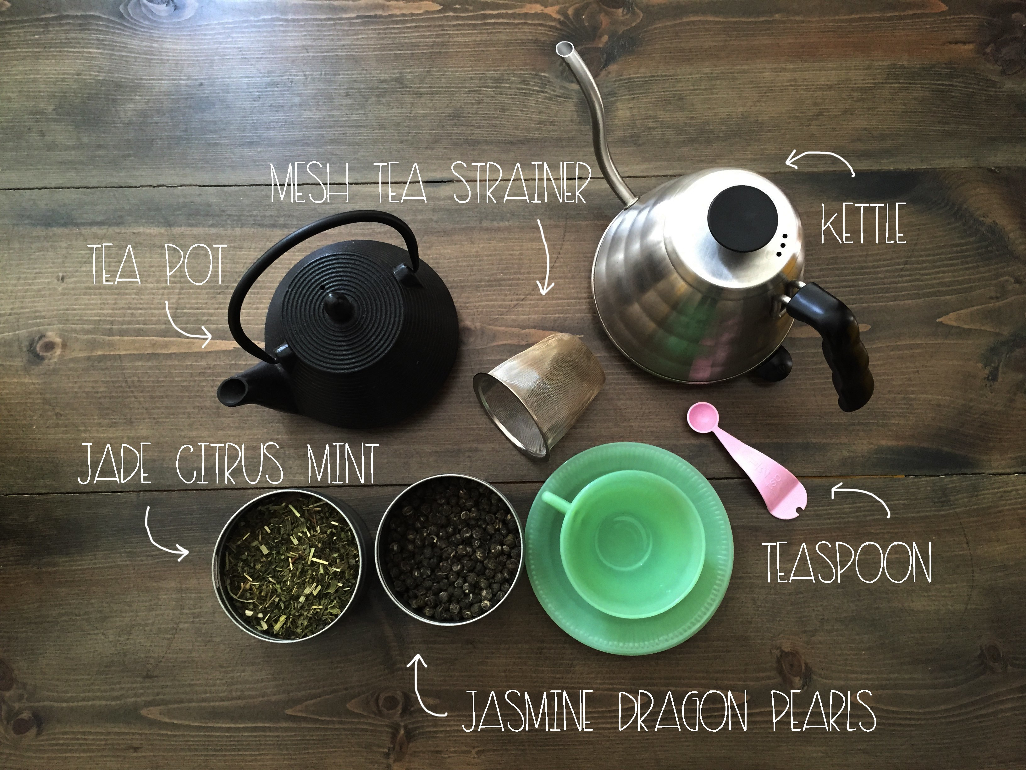 What You Need to make Jade Mint and Jasmine Pearl Green Tea | Red Autumn Co
